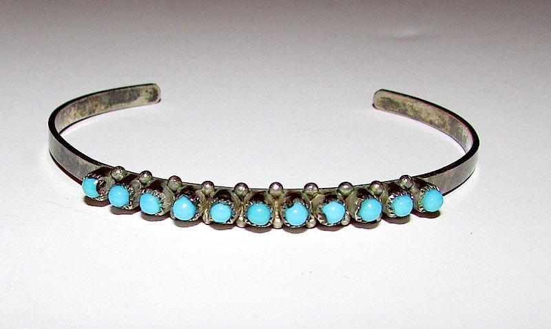 Old Pawn Zuni Sterling Turquoise Bracelet