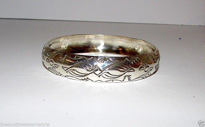 Navajo TAHE Sterling Bangle Bracelet