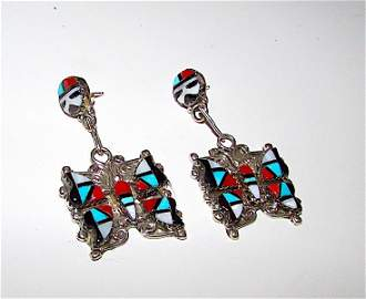 Zuni H E Cellicion Sterling Inlay Butterfly Earrings