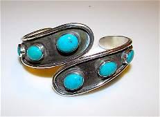 Old Pawn Navajo Sterling Turquoise Roger Skeet Bracelet