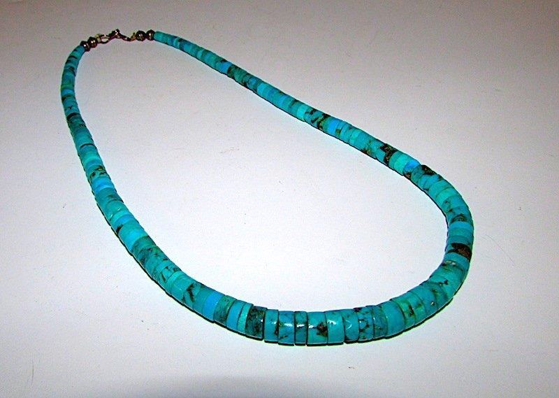 Vintage Navajo Sterling Turquoise Disc Necklace