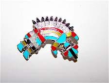 Zuni Sterling Turquoise Inlay Yei Rainbow God Pin Naja