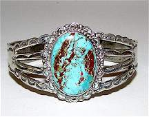 Old Pawn Navajo Silver Dry Creek Turquoise Bracelet