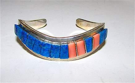 Navajo Sterling Lapis Coral Rick Charley Bracelet