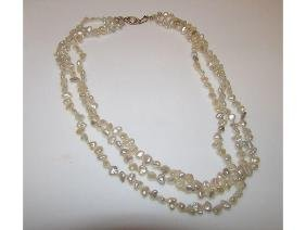 Cultured Pearl 14K Filigree Clasp Triple Strand