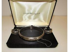 Vintage Sterling Silver 925 Bangle Bracelet and