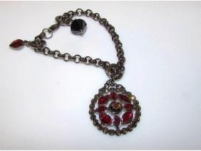 SWAROVSKI Garnet Red Crystals Medallion Charm Bracelet