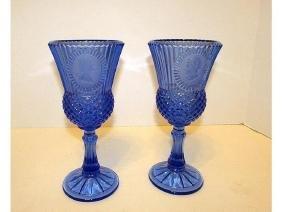Fostoria Cobalt Blue Avon Vintage Pair of Goblets