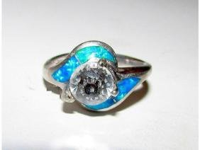 Vintage Sterling Silver Fire Opal Crystal Solitaire