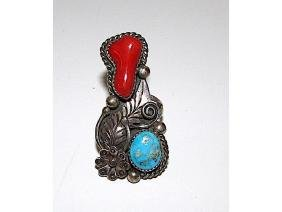 Old Pawn Navajo Sterling Silver Turquoise Coral Large
