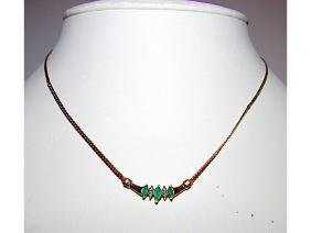 10K Yellow Gold Green Emerald Diamond Accent Necklace