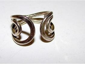 Deco Sterling Silver 925 Adjustable Statement Ring Open
