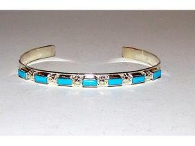 Vintage Zuni Sterling Silver Turquoise Cuff Bracelet