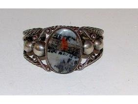 Old Pawn Navajo Sterling Silver Petrified Wood Cuff