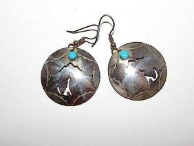 Native American Navajo Sterling Silver Turquoise Coyote