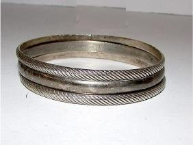 Taxco Mexican Sterling Silver 925 Bangle Bracelets Set