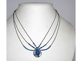 Native American Zuni Sterling Silver Lapis Necklace