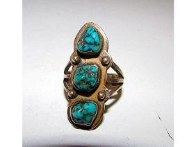 Old Pawn Navajo Sterling Kingman Mine Turquoise Ring