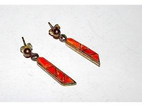 Native American Navajo Sterling Silver Orange Spiny