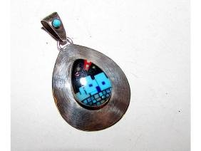 Zuni Sterling Silver Turquoise Jet Coral Inlay Pueblo