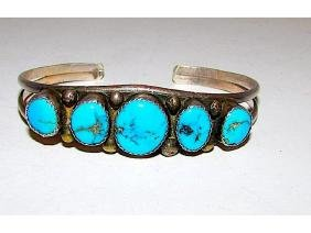 Old Pawn Navajo Sterling Silver Kingman Turquoise Cuff