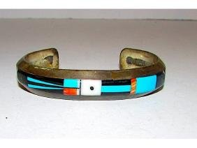 Old Pawn Zuni Sterling Silver Turquoise Coral Jet God's