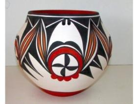 Vintage ACOMA Pueblo Pottery Collector Vase Signed D.