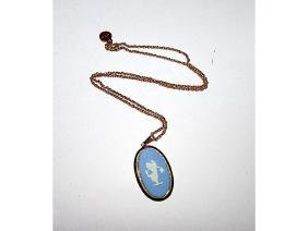 Vintage Wedgwood Blue Jasperware Cameo Pendant Necklace