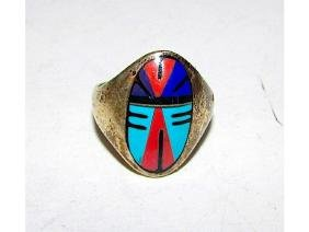 Old Pawn Zuni Sterling Silver 925 Turquoise Lapis Coral