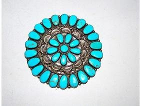 Vintage Navajo Sterling Silver Turquoise Rosette