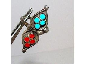 Old Pawn Zuni Sterling Silver Turquoise Coral Statement