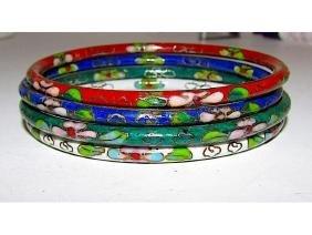 Cloisonn_ Oriental Chinese Bangle Bracelets Set of 4