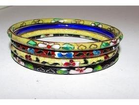 Cloisonne Oriental Chinese Bangle Bracelets Set of 4