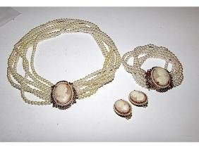 Florenza Carved Shell Cameo Necklace Bracelet Clip On