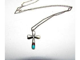 Zuni Sterling Silver Turquoise Coral MOP Inlay Cross