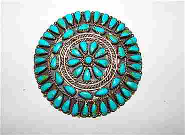 Old Pawn Navajo Sterling Turquoise Brooch Pendant