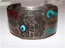 Old Pawn Navajo Sterling Kachina Bracelet Rare
