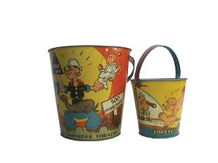 Lot of 2 Popeye Sand Pails