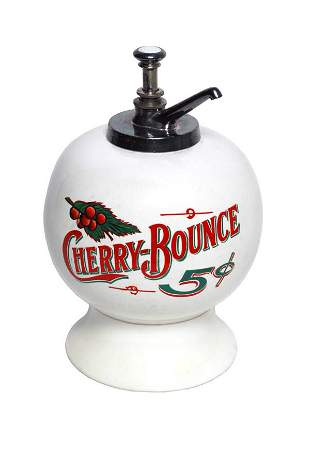 Cherry Bounce Syrup Dispenser.