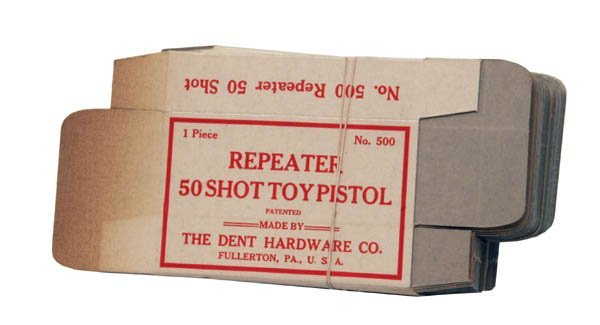 185: Large Lot of Repeater 50-Shot Toy Pistol Dent Card