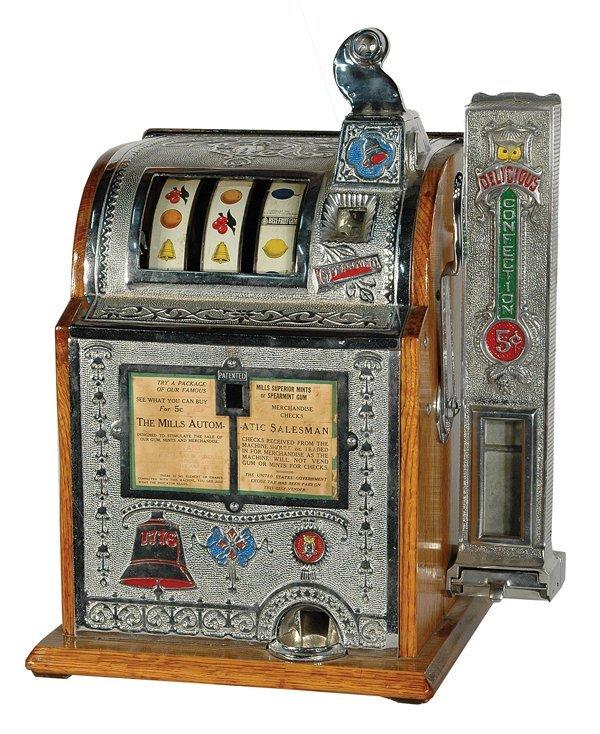 210: Mills Automatic Salesman Slot Machine With Vender.