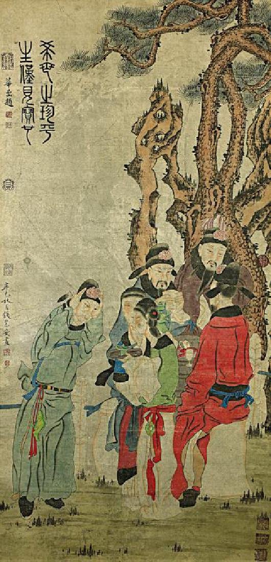 CHINESE SCROLL PAINTING OF SCHOLARS