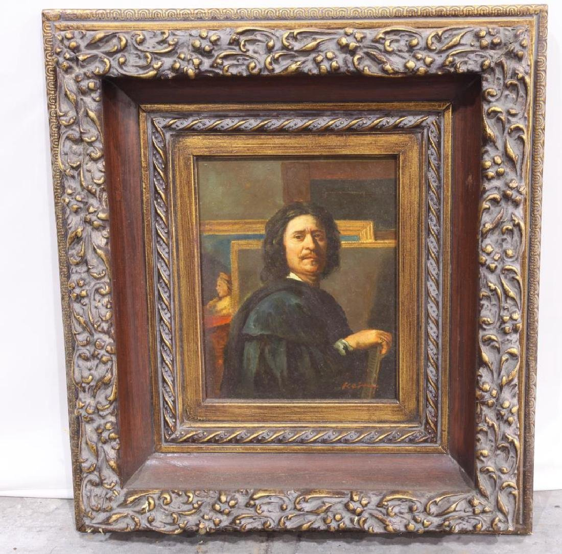 FRAMED OIL ON CANVAS PAINTING OF A PORTRAIT