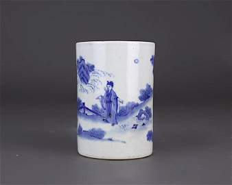 KANGSHI BLUE AND WHITE BRUSH POT