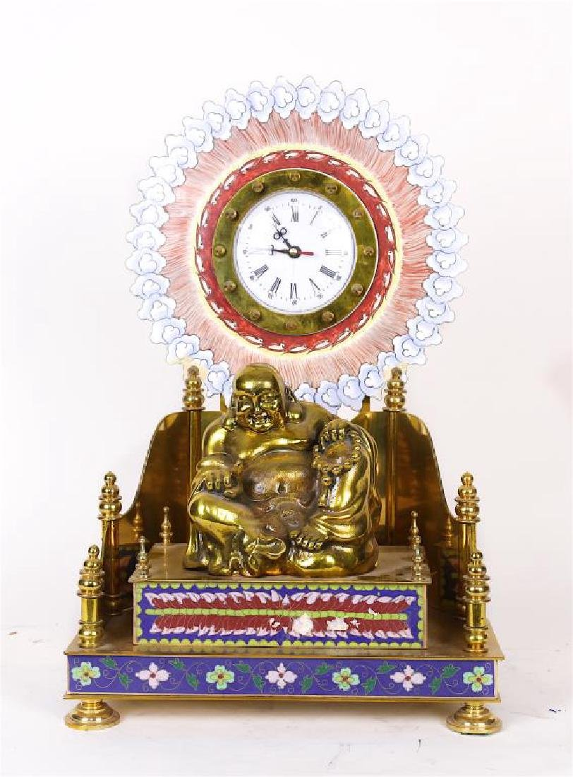 CLOISONNE AND BRESS HAPPY BUDDHA CLOCK