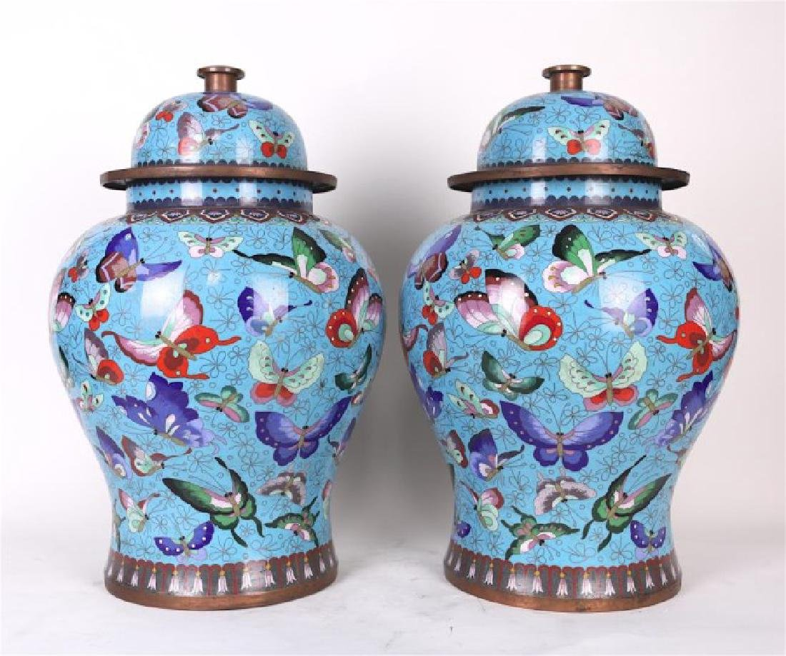 PAIR OF CLOISONNE TEMPLE JARS WITH BUTTERFIES