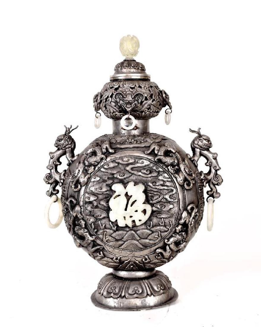 MONGOLIAN SILVER VASE WITH JADE INLAID