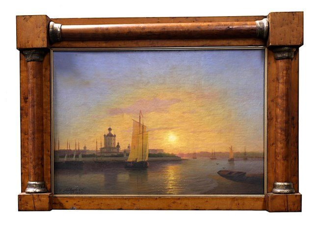 FRAMED OIL PAINTING ON BOARD OF SAILBOATS