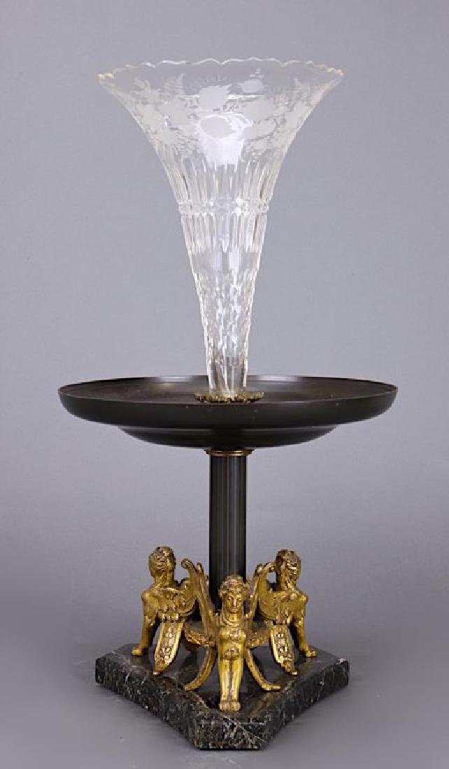 EUROPEAN GLASS AND BRONZE TAZZA CENTERPIECE