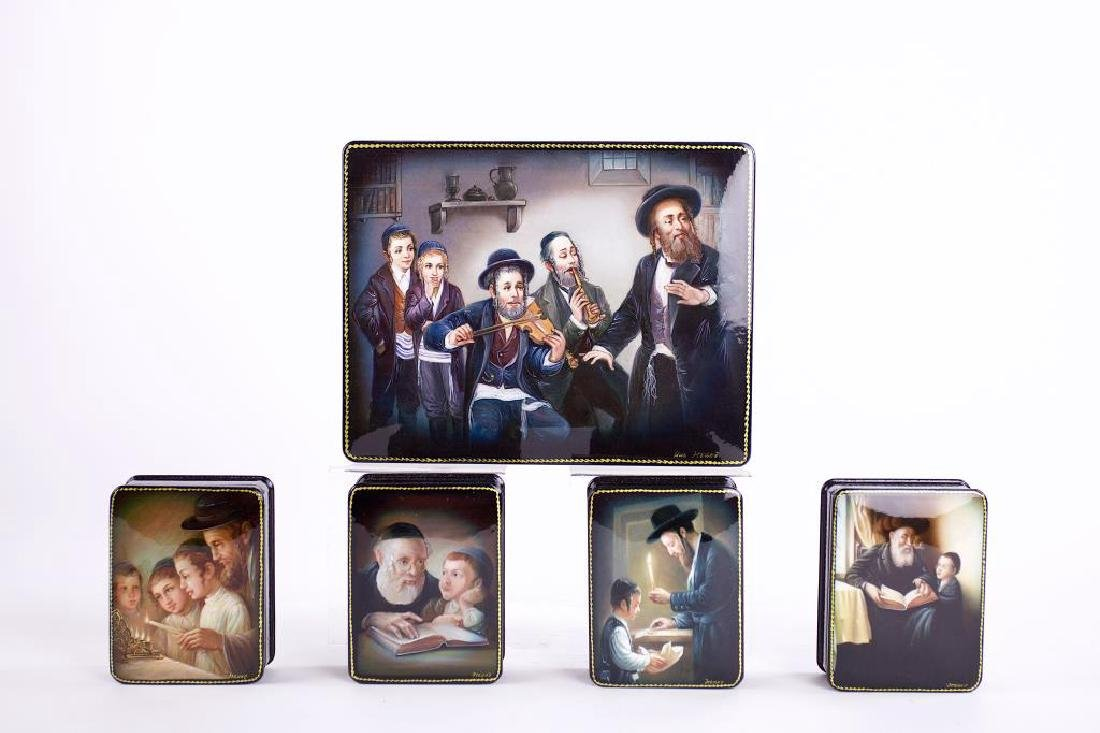 COLLECTION OF FIVE RUSSIAN JUDAICA LACQUERED BOXES